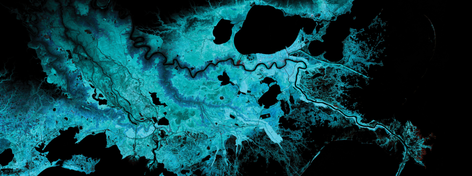 Territorial Agency—Oceans in Transformation commissioned by TBA21-Academy.  The rapid depletion of the coastal ecosystems of the Mississippi Delta, combined with sea level rise scenarios.  © Territorial Agency